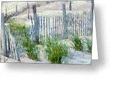 Dune Fences At Cape Hatteras National Seashore Greeting Card