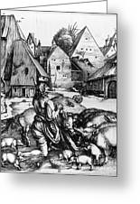 Durer: Prodigal Son, 1496 Greeting Card