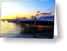 Dusk At The Marina Greeting Card