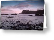 Dusk At Yaquina Head Lighthouse Greeting Card