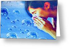 Dust Mite Allergy, Conceptual Artwork Greeting Card