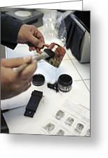 Dusting An Object For Fingerprints Greeting Card