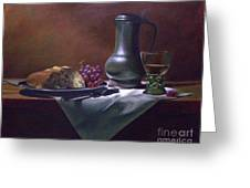 Dutch Roemer With Bread And Grapes Greeting Card