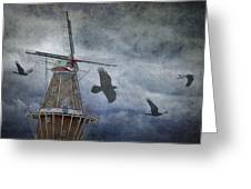 Dutch Windmill With Ravens Greeting Card