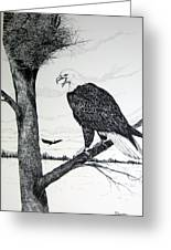 Eagle At Nest Greeting Card