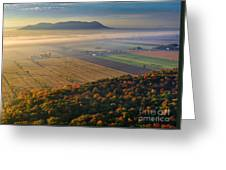 Early Autumn Morning Fog On The Richelieu River Valley Quebec Ca Greeting Card