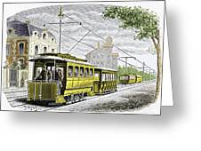 Early Electric Tram Greeting Card