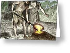 Early Humans Smelting Bronze Greeting Card by Sheila Terry