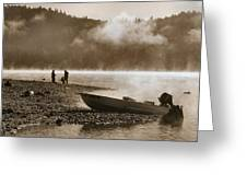 Early Morning Fishing On Scotts Flat Lake In Sepia Greeting Card