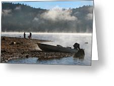 Early Morning Fishing On Scotts Flat Lake Greeting Card