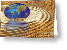 Earth In The Printed Circuit Greeting Card