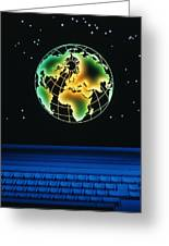 Earth Over Computer Keyboard Greeting Card