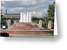 Earthen Brick Water Fountain W Blue Skye Greeting Card