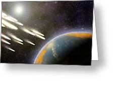 Earth's Cometary Bombardment, Artwork Greeting Card by Equinox Graphics