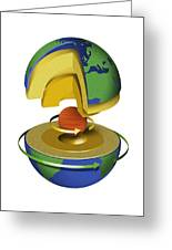 Earth's Internal Structure, Artwork Greeting Card