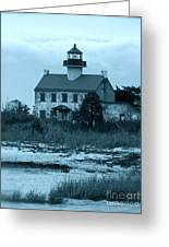 East Point Light In The Clouds Greeting Card