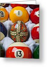 Easter Egg Among Pool Balls Greeting Card