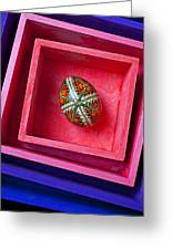 Easter Egg In Pink Box Greeting Card