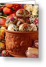 Easter Eggs In Flower Pot Greeting Card