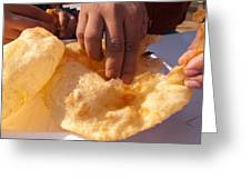 Eating By Hand The Indian Delicacy Of Chole Bhature Greeting Card