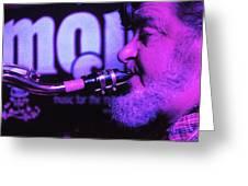 Ed Lynman On Blues Sax Greeting Card