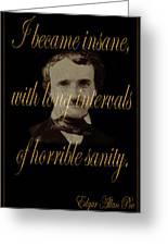 Edgar Allan Poe 2 Greeting Card