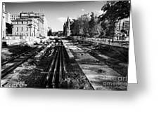 Edinburghs New Tram System Under Construction In St Andrews Square Scotland Uk United Kingdom Greeting Card