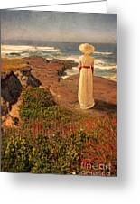 Edwardian Lady By The Sea Greeting Card