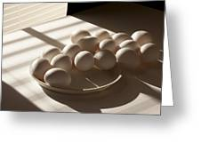Eggs Lit Through Venetian Blinds Greeting Card