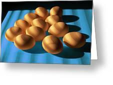 Eggs On Blue Lit Through Venetian Blinds Greeting Card