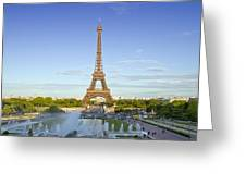 Eiffel Tower With Fontaines Greeting Card