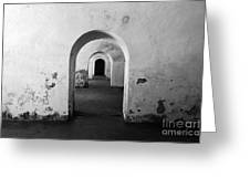 El Morro Fort Barracks Arched Doorways San Juan Puerto Rico Prints Black And White Greeting Card