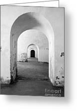 El Morro Fort Barracks Arched Doorways Vertical San Juan Puerto Rico Prints Black And White Greeting Card