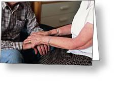 Elderly Couple Holding Hands Greeting Card