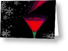 Electric Red Cocktail With Snowflakes Greeting Card