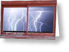 Electric Skies Red Barn Picture Window Frame Photo Art  Greeting Card