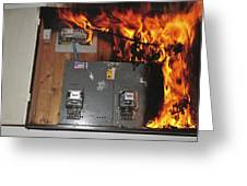 electrical fire in a household fuse box greeting card for sale by Relay in Fuse Box Fires From Water electrical fire in a household fuse box greeting card