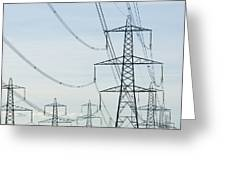 Electricity Pylons Against A Clear Blue Greeting Card
