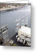 Electricity Pylons At Hydroelectric Dam Greeting Card