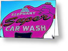 Elephant Super Car Wash Boost Greeting Card