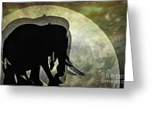 Elephants On Moonlight Walk 2 Greeting Card