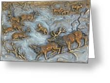 Elk And Bobcat In Winter Greeting Card