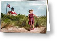 Ella At East Point Light Greeting Card