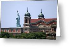 Ellis Island And Statue Of Liberty Greeting Card