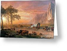 Emigrants Crossing The Plains Greeting Card by Photo Researchers