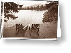 Empty Chairs On Waterfront Greeting Card