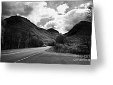 Empty Main Road Through Glencoe Highland Scotland Uk Greeting Card by Joe Fox