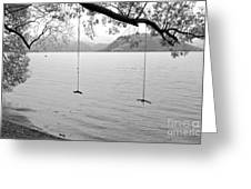 Empty Swings In The Rain Greeting Card