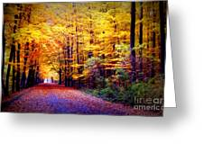 Enchanted Fall Forest Greeting Card by Carol Groenen