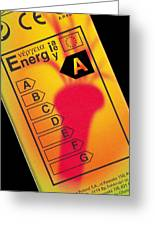 Energy Efficiency Rating Label Greeting Card by Sheila Terry